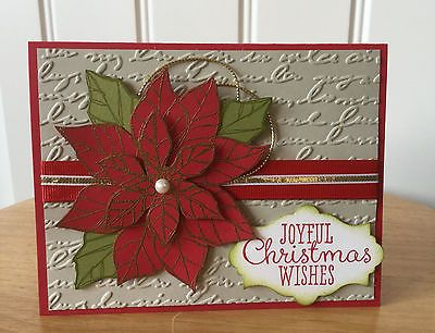 Christmas card kit - Red & gold poinsettia - made with stampin up product
