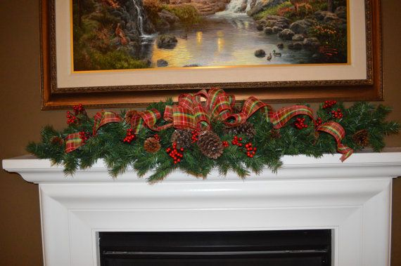 Rustic Mantle Garland Fireplace Garland by TheBloomingWreath