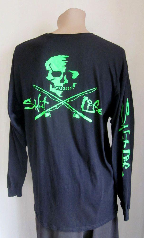 81846e085 SALT LIFE Men's Black Neon Green Skull and Poles Graphic Long Sleeve T-Shirt  L #SaltLife #GraphicTee