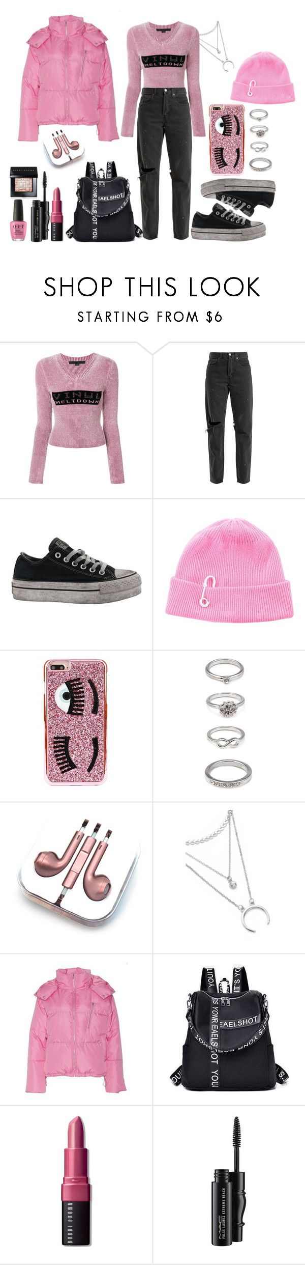 """PINK PUFFER COATS"" by nicks-1 ❤ liked on Polyvore featuring Alexander Wang, RE/DONE, Converse, TIBI, Chiara Ferragni, Forever 21, PhunkeeTree, NLY Trend, Bobbi Brown Cosmetics and MAC Cosmetics"