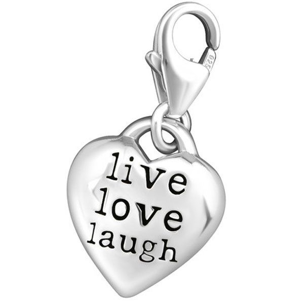 Quiges 925 Sterling Silver 3D Heart Love Clip On Charm Pendant