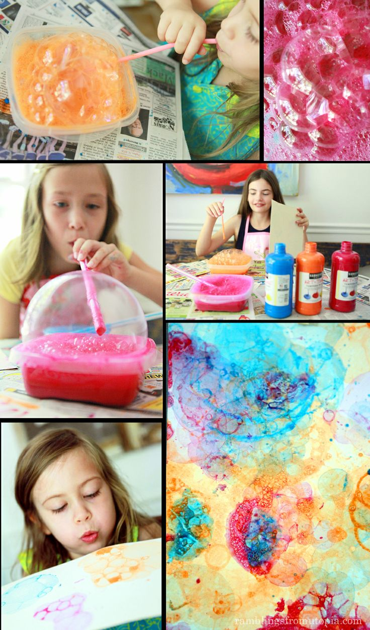 Painting with bubbles, kid craft,
