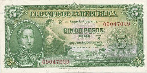 BILLETE DE 5 PESO AÑO 1953 BANCO DE LA REPÚBLICA DE COLOMBIA