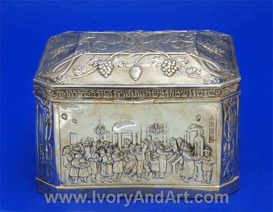 Ab outstanding beautiful Sterling Silver Etrog Box of People dancign - http://www.ivoryandart.com/servlet/the-913/Silver-Judaica--dsh--Etrog/Detail