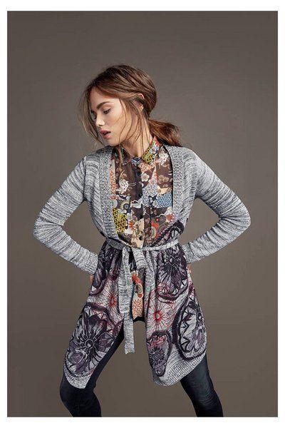 Cardigan gris chiné pour femme Desigual. Découvre la collection automne-hiver2016!