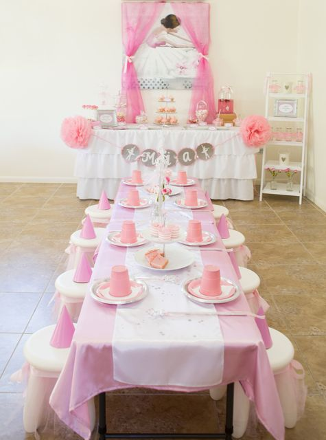 Such a lovely table at a ballerina party!  See more party ideas at CatchMyParty.com!  #partyideas #ballerina