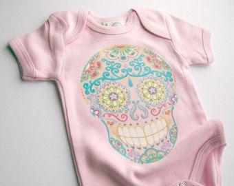 Baby Girl clothes. Pink Day of the Dead Skull Tattoo Bodysuit newborn, 3, 6, 9 12 months. Trendy Toddler shirt Blush Punk Jumper