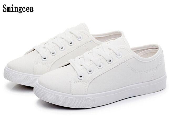 Woman White Canvas Flats Shoes Breathable students dance shoes lace up BLACK Leisure Cloth single shoe Pregnant White nurse shoe #Affiliate