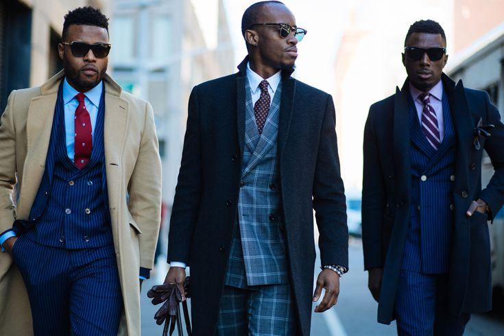 Suit up. Smart streetstyle look. Navy & camel coat, double breasted jacket, checked suit.  NYFW: Men's AW16 Day 2