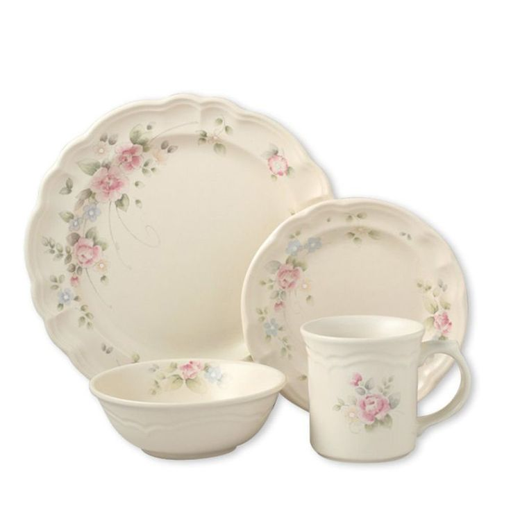 Pfaltzgraff Tea Rose  Tea Rose offers conventional sentiment with a touch of the English wide open   Built of Stoneware   Incorporates (8) every: 10-1/2 inch supper plate, 7-1/2 inch serving of mixed greens plate, 16 ounce soup oat bowl, and 12 ounce mug  Utilize and Care: Microwave and Dishwasher Safe You can look here and buy.