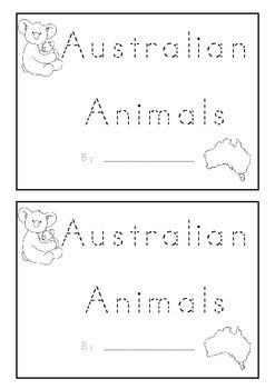 Australian Animal Beginning Sounds Animal Name Book K-1 For Kids To Make  This is a black and white printable book for kids which will help    them learn about Australian Animals and help them to practice their writing and beginning/initial sounds.  The animals in the little book half A4 pages are:  A koala A kangaroo A saltwater crocodile An echidna A platypus An emu A wombat A dingo  Each page has a sentence like....I am a __angaroo ....where the children fill in the missing letter and has…