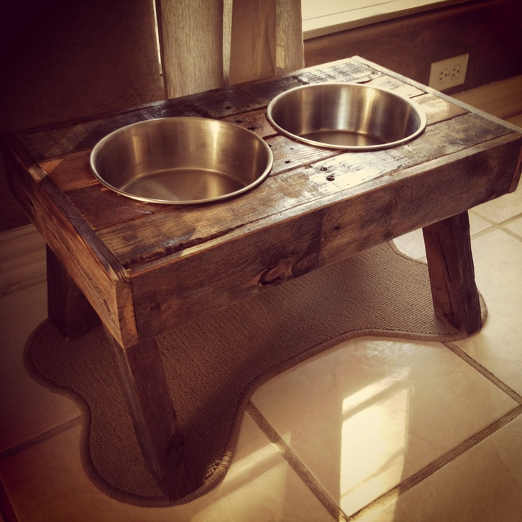 Dog Bowl Holder - made from old fence wood!