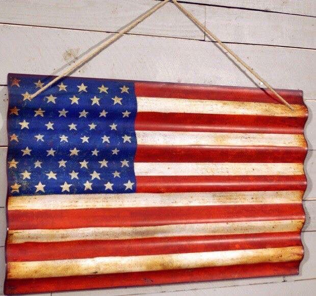 Paint the American flag on corrugated tin.