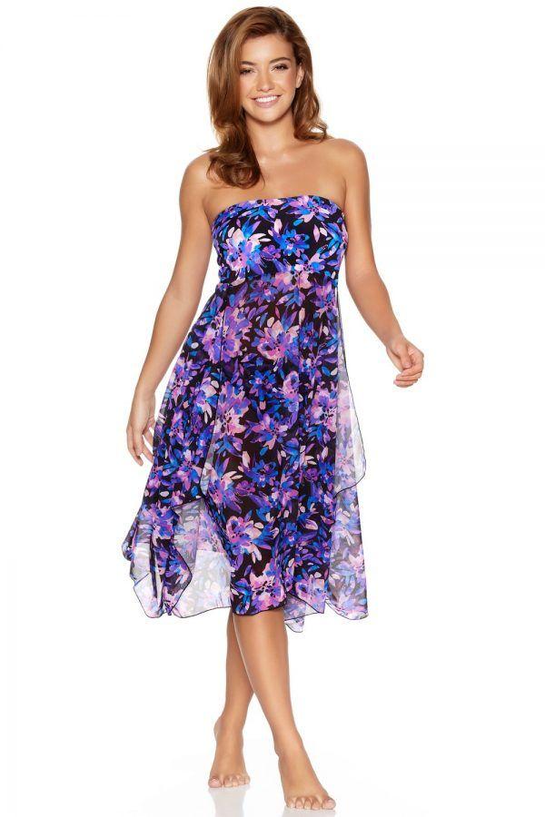 cc36713d9074cf Women's Ladies swimwear purple floral print sheer mesh two in one strapless  swim skirt beach dress