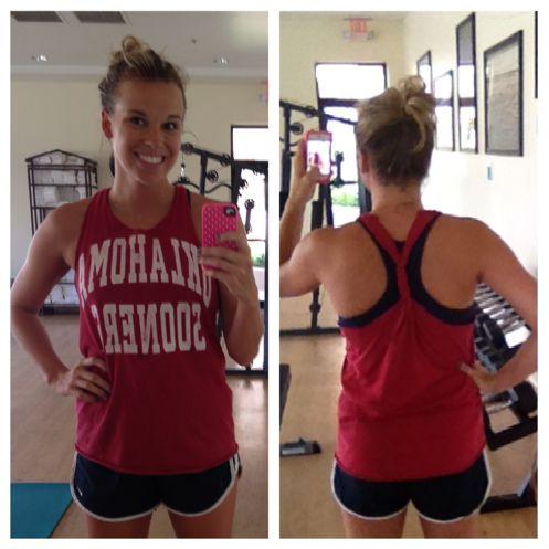 No-sew T-shirt-to-tank option! Disregard her T-shirt, Geaux Tigers! :)