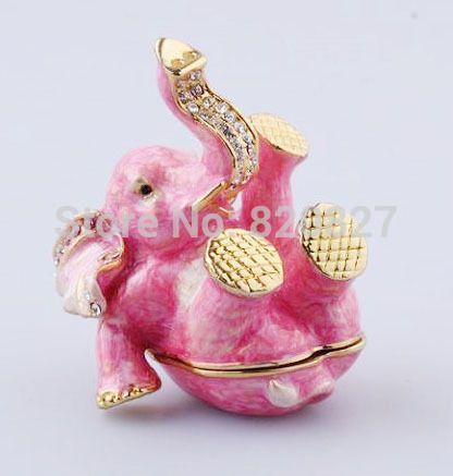 Милый слон фигурка подарки на день рождения ручной работы металл слон форма шкатулка подарок Милый Розовый Слон Брелок Box