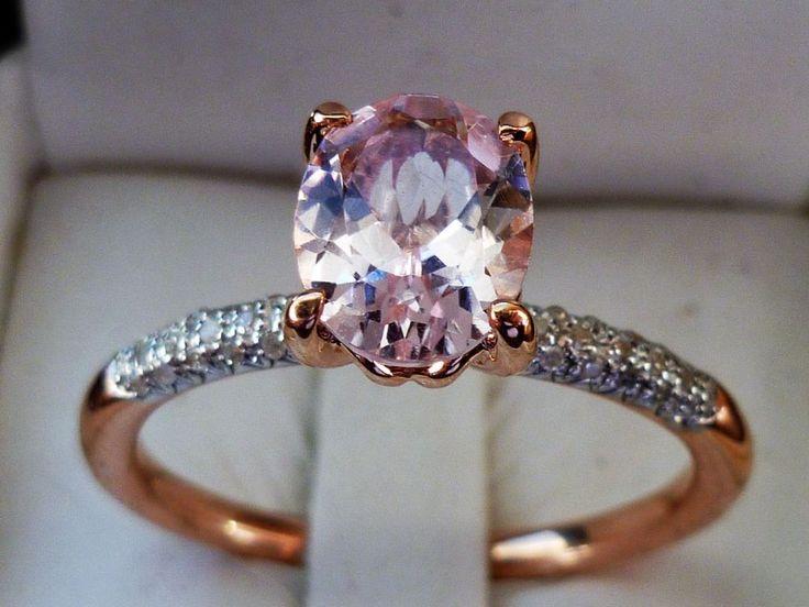 NEW 1.5ct Cor-de-Rosa Oval-Cut Morganite Diamond & Ring -10K Rose Gold- Sz 10.5 #Cocktail