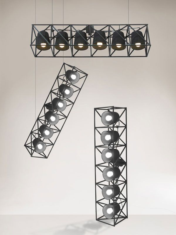 Multilamp Collection by Emanuele Magini - The Multilamp series brings industrial-style stadium lighting to your home! Inspired by the bright lights of concert venues and arenas, these pendants are still ideal for lighting larger spaces, but a smaller table lamp version is sized for more compact space. |  Yanko Design