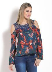 Blusa Ombros Vazados (Floral) e Detalhe em Renda