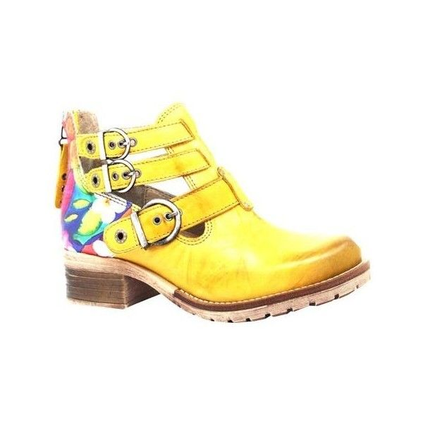 Women's Dromedaris Kelsy Flower Buckle Boot ($190) ❤ liked on Polyvore featuring shoes, boots, ankle booties, casual, casual shoes, leather ankle booties, yellow boots, buckle booties, leather buckle boots and short heel boots
