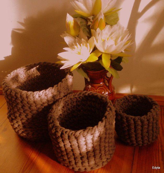 Kosze robione na szydełku ze sznura bawełnianego | eBay