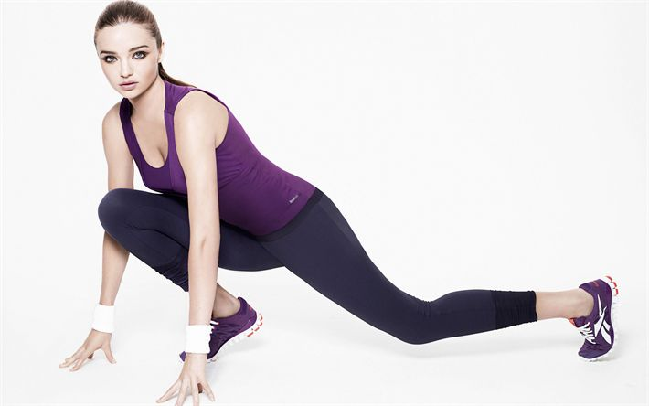Download wallpapers Miranda Kerr, fitness, 4?, sports female outfit, exercise room, sport activity, Australian supermodel