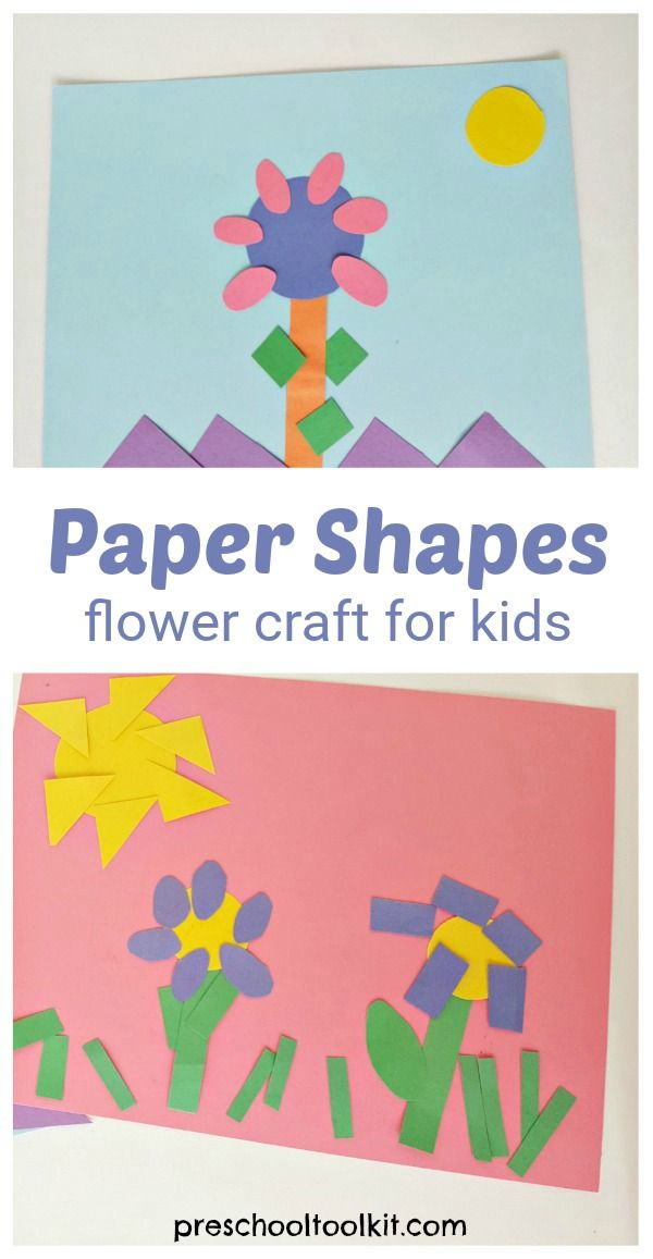 Paper shapes flower craft for preschoolers - Preschool Toolkit