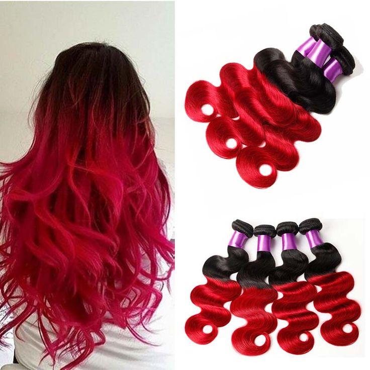 Ombre Brazilian Virgin Hair Weave Bundles Two Tone 1B Red Cheap Peruvian Malaysian Body