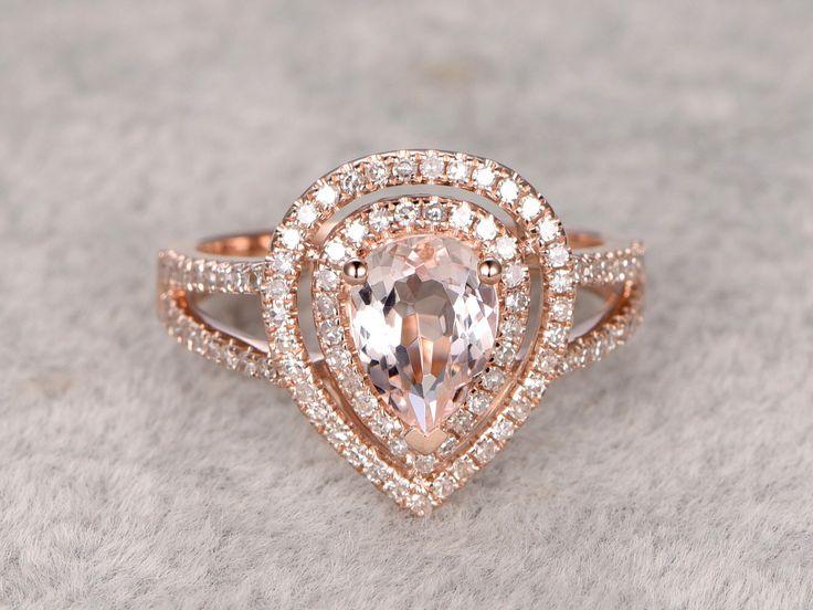 Morganite Engagement ring rose gold,Double halo Diamond wedding band,14k,6x8mm Pear shaped,Gemstone Promise Bridal Ring,Split shank,Fine by popRing on Etsy https://www.etsy.com/listing/288620609/morganite-engagement-ring-rose