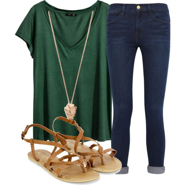 Survived 4th day of school!! by anappleadaykeepsfashionuptodate on Polyvore featuring H&M, Frame Denim, Accessorize and Pamela Love