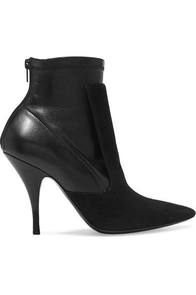 Heel measures approximately 100mm/ 4 inches Black suede and stretch-leather Pointed toe Zip fastening along back  Made in Italy