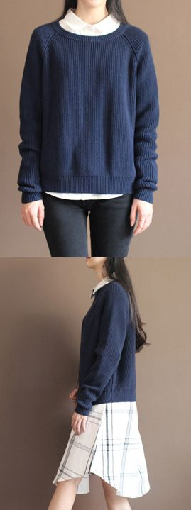 new-dark-blue-solid-color-cotton-knit-t-shirt-vintage-loose-batwing-sleeve-sweater-tops