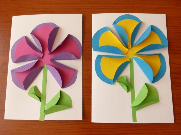 Simple large flowers - cutting, folding, sticking