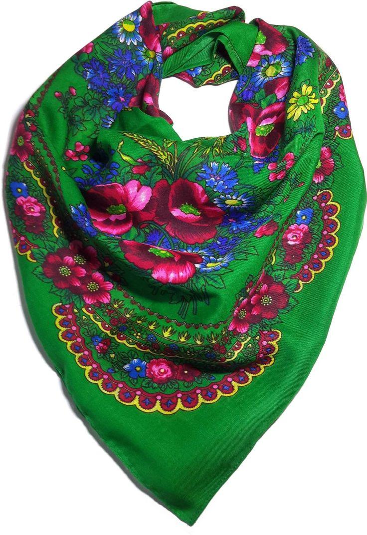 Traditional Polish Ukrainian Folk Cotton Head Scarf - Green