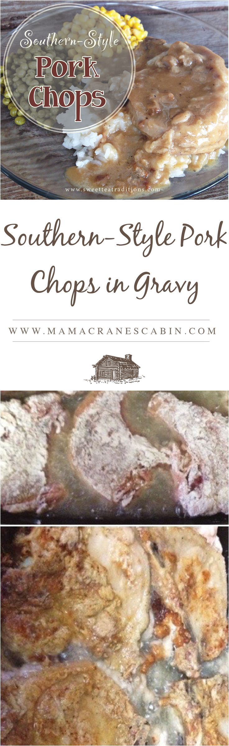 Southern-style pork chops smothered in gravy…YUM! The gravy is just as good as the pork chop!!! But, are these chops baked or fried? Well, actually, both! The chops are dredged in flou…