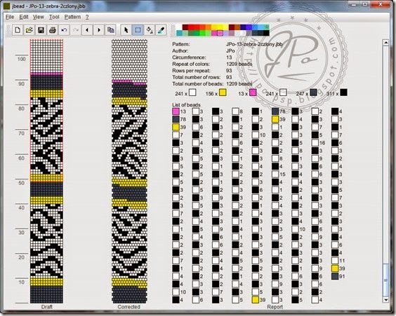 Round Bead Pattern coordinating with JPo's zebra bead crochet patterns