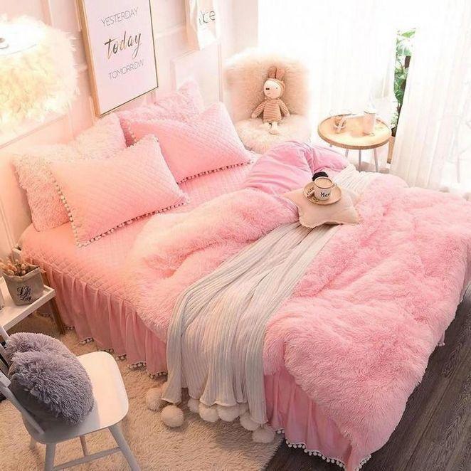 33 About Pink Suede Four Piece Bedding Set Cute Girl Favorite Winter Duvet Cover Bdarop Bedroom Design Bedding Master Bedroom Faux Fur Bedding