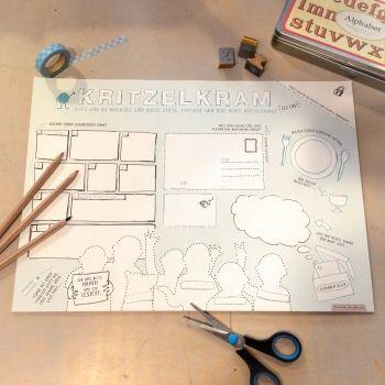 Kritzelblock Schreibtischunterlage Malblock zum Abreißen Malbuch für Kinder A3, zum Bemalen und Basteln