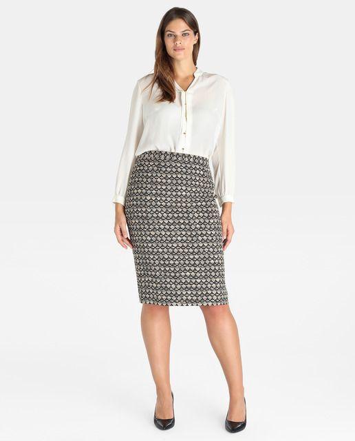 Falda corta de mujer talla grande Antea Plus con jacquard