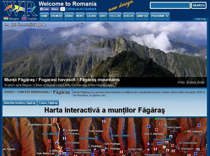 Fagaras Mountains with the highest peaks, and incredibly beautiful places. Interactive map of all the marked trails. http://www.welcometoromania.ro/Fagaras/Fagaras_Harta_r.htm