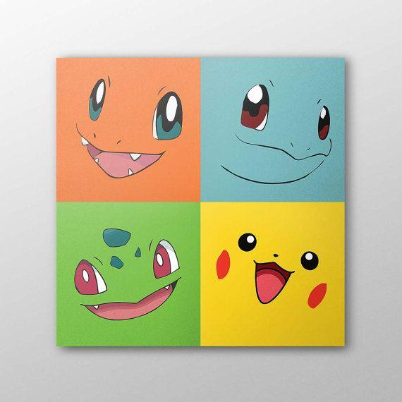 Pokémon-Bilder können auch Minimalisten malen. Trotzdem erkennt man noch Glumanda, Shiggy, Bisasam und Pikachu. | Pokémon-Party basteln DIY
