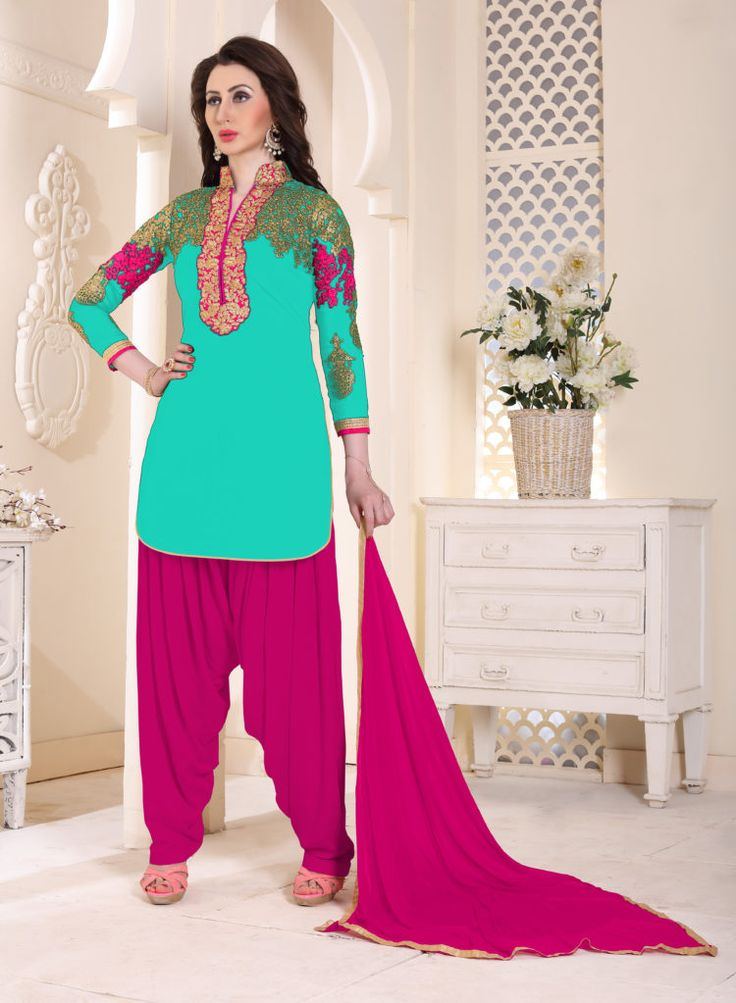 Firozi Color Georgette Patiala Salwar Suits - ClickOnBazar #onlinepatiala #designerpatialasalwar #patialasalwarsuits #designerpatialasalwar #clickonbazaarpatialasuits