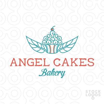 Logo For Sale: Sweet, cute logo of a cupcake with wings made of leaves.
