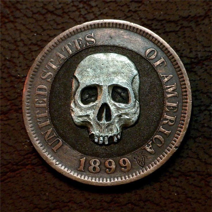 "Hobo Nickel ""Skullduggery"" Indian Head Penny Skull Silver Coin Howard Thomas"