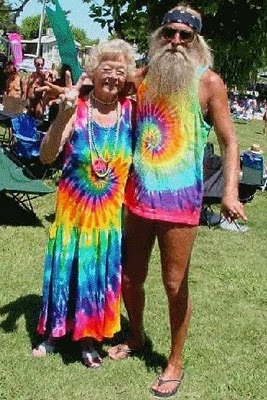 The term hippie actually came from the word hipster and was often used to refer to the younger bohemian crowd. The hippies were best known as being involved in the 1960's counterculture movement. In the photo, shows an old lady and guy dressed in a hippie form. Reference: Retrieved on January 20, 2013, from www.peaceouthippies.blogspot.com