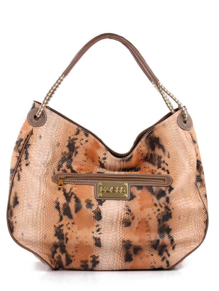 Maxi bolsa feminina em couro legítimo estampa cobra. Cor goiaba.