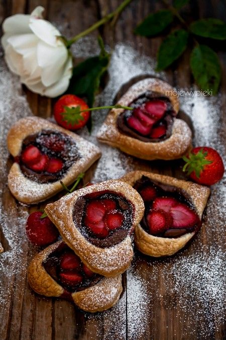 French cookies with nutella and strawberries.
