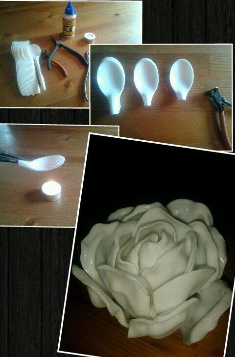 ⚪natta.lk @ instagram⚪ Gör det själv    DIY   Gör en vacker ros av helt vanliga plastskedar.   Plastic Spoon Flower Rose