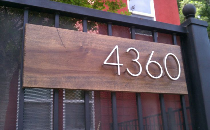 Modern Address Plaque with 4 Floating Numbers.