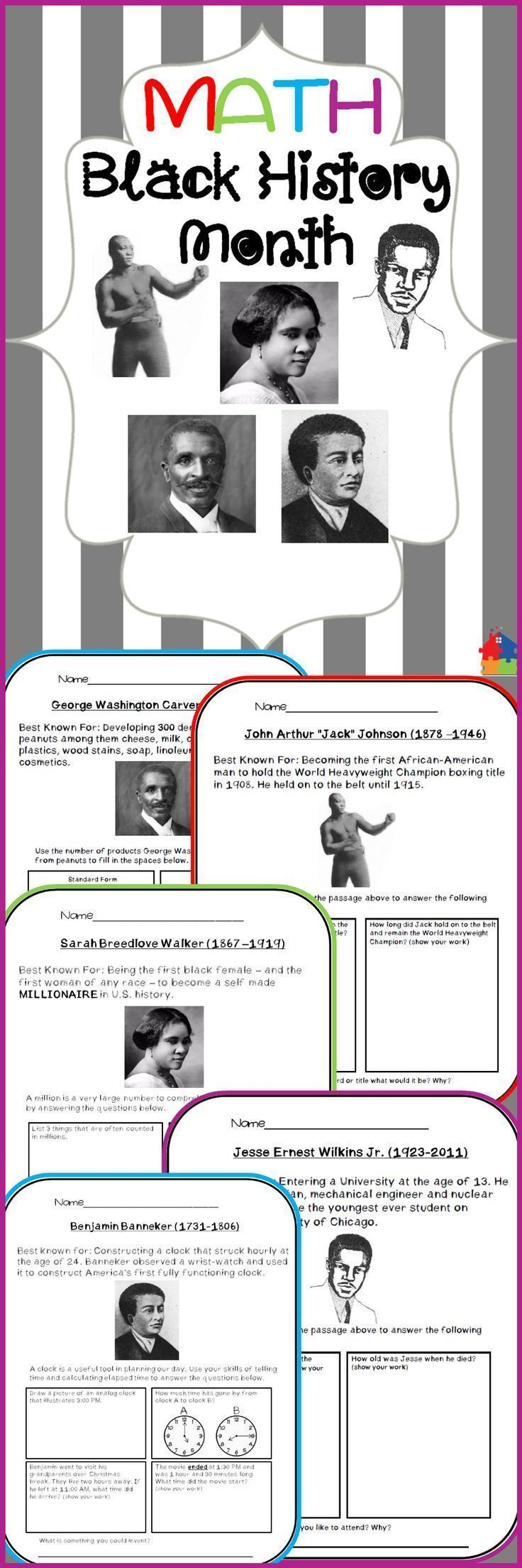 This Resource Integrates Math Concepts With Interesting Facts About 5 Famous African American Figures Black History Month Worksheets Math Black History Month [ 2208 x 736 Pixel ]